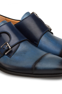 Men's Handmade Blue Patina Double Monk Shoes, Genuine Leather Dress Shoes