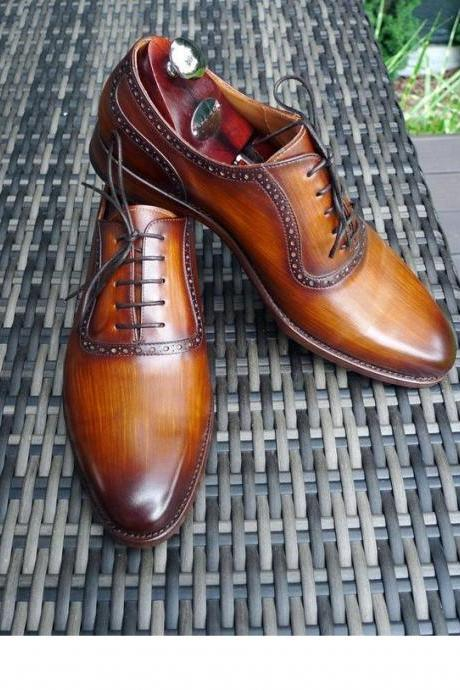 Men's Handmade Tan Patina Oxfords Leather Dress Shoes, Custom Made Formal Shoes