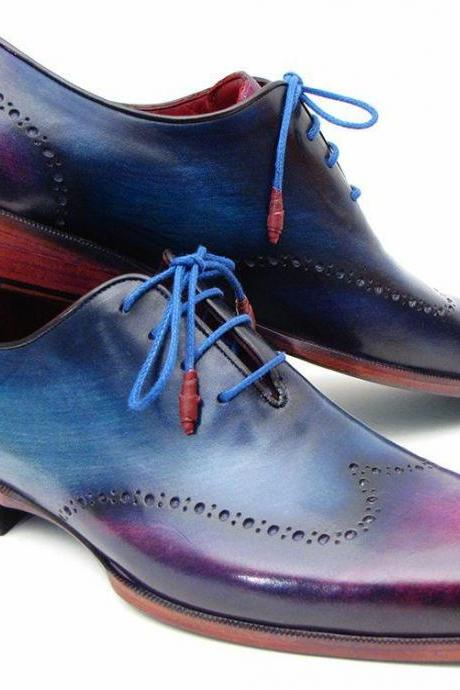 Men's Handmade Blue Patina Oxfords Shoes, Leather Dress Shoes For Men