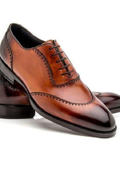 Men's Handmade Brown Patina oxfords Shoes, Genuine Leather Dress Shoes For Men