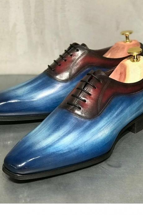 Men's Handmade Blue Patina Oxfords Leather Shoes, Best Formal Dress Shoes