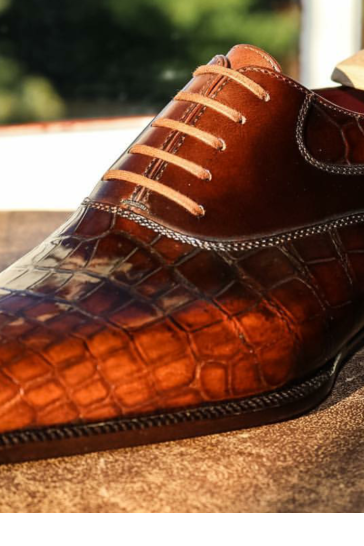 Men's Handmade Tan Patina Croc Leather Oxfords, Genuine Leather Lace up Shoes