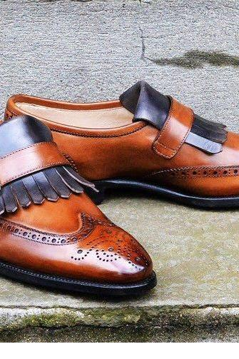 Leather Dress Shoes Men's, Handmade Tan Monk Strap Formal Shoes