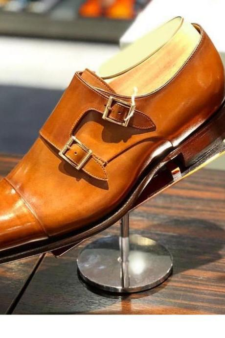 Men's Tan Double Monk Leather Shoes, Handmade Leather Dress Shoes