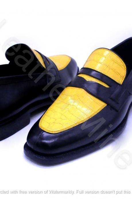 Men's Handmade Yellow Leather Dress Loafers Formal Shoes For Men
