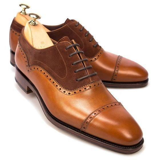 Handmade leather Cognac Two Tone oxfords dress shoes for men classic oxfords shoes