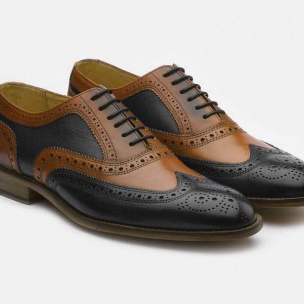 Handmade leather Black corespondent oxfords dress shoes for men classic oxfords shoes