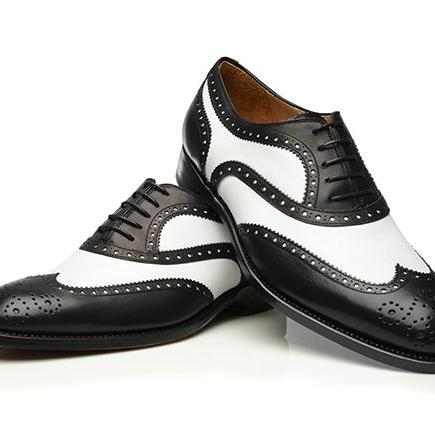 Handmade leather Black and white corespondent oxfords dress shoes for men classic oxfords shoes