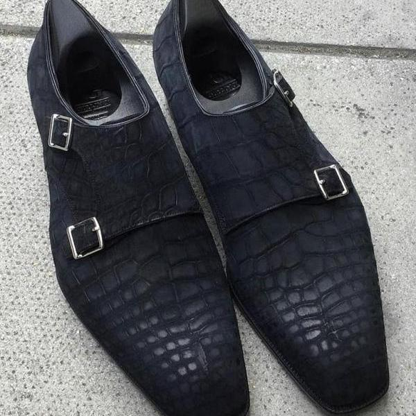 Handmade Men's Black Best Monk Crocodile Leather Shoes, Custom Made Shoes