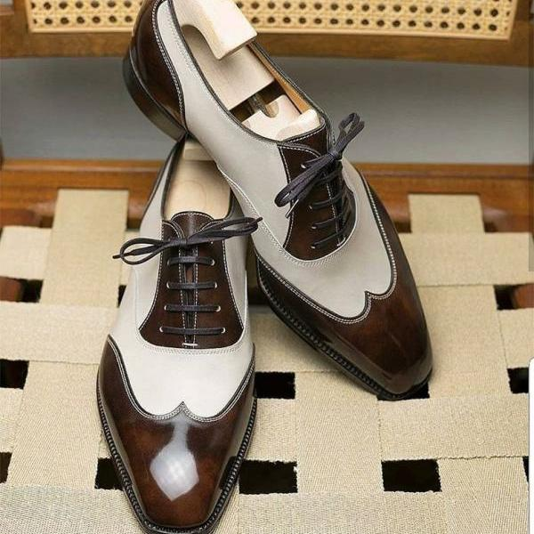 Handmade White and Brown Wingtip Leather Dress Shoes For Men
