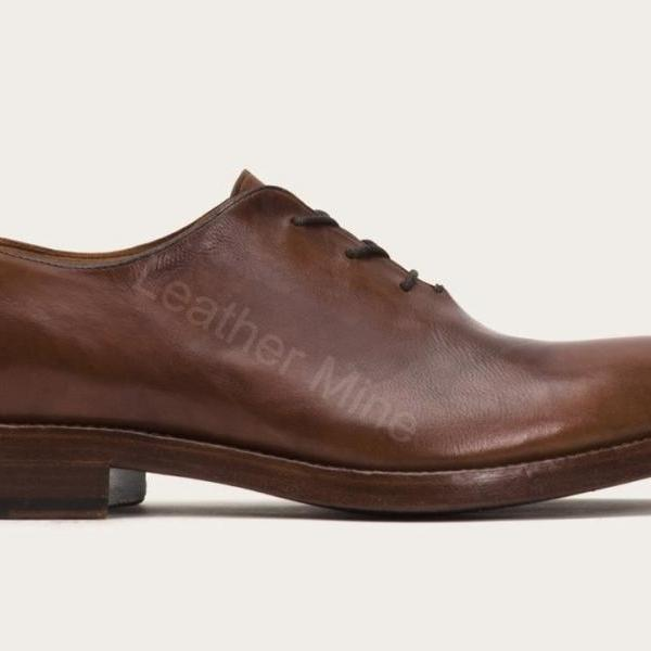 Oxfords Leather Shoes Mens, Handmade Brown Formal Shoes For Men