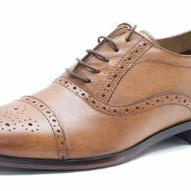 Men's Handmade Brown Leather Brogue Dress Shoes, Custom Made Formal Brogue Shoes