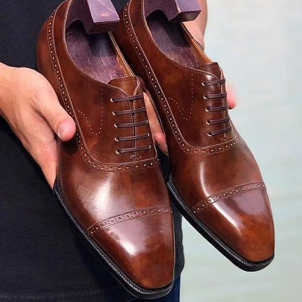Men's Leather Oxfords Dress Shoes, Handmade Leather Semi Brogue Formal Shoes