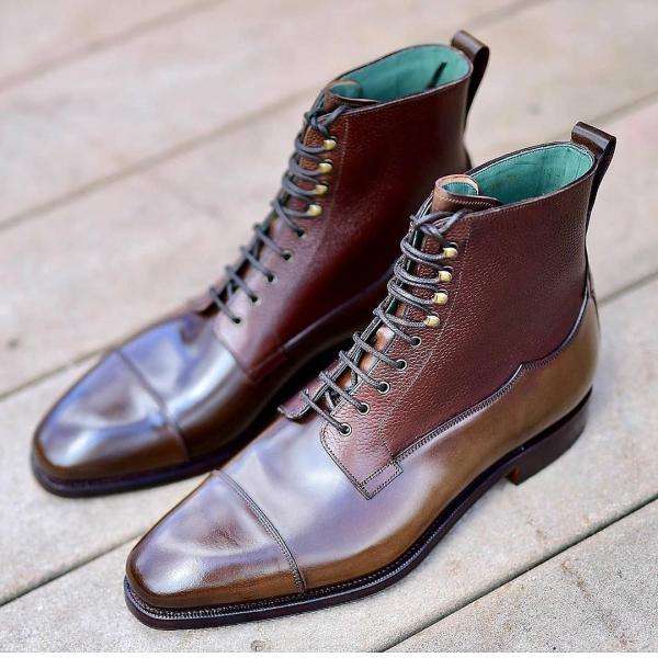 Men's Handmade Patina Dress Boots, Custom Made Formal Boots For Men