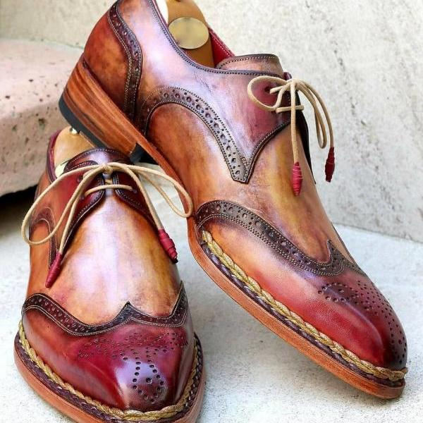 Men's Handmade Brogue Patina Derby Leather Shoes, Custom Made Leather Dress Shoes