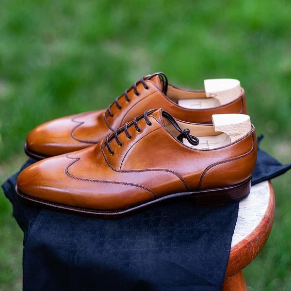 Men's Handmade Tan Oxfords Leather Shoes, Genuine Leather Formal Shoes