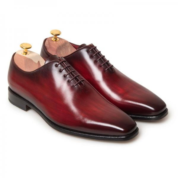 Men's Handmade Whole Cut Red Patina Oxfords Leather Dress Shoes