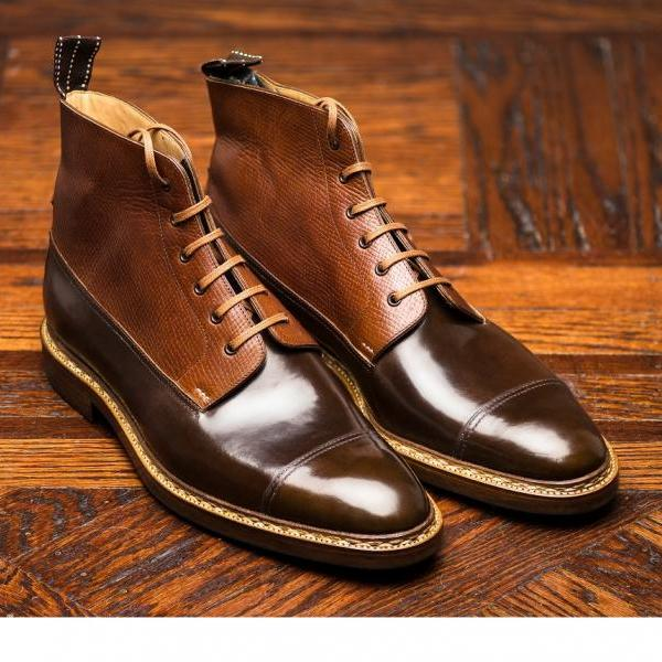 Derby Lace Up Boots Men, Handmade Chestnut Leather Derby Boots For Men