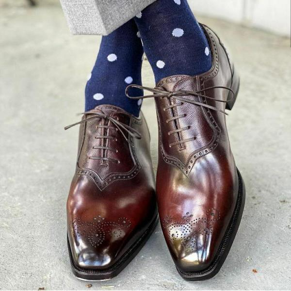 Men's Handmade Brown Leather Oxfords Dress Shoes, Custom Made Formal Shoes For Men