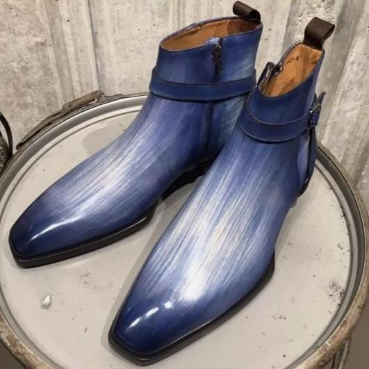 Handmade Blue Patina Ankle High Leather Dress Boots For Men