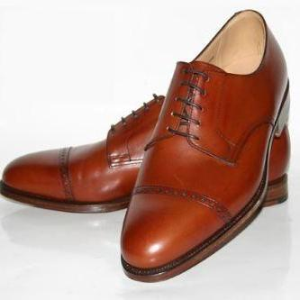 Handmade Brown Leather Derby Custom made Dress Shoes For Men