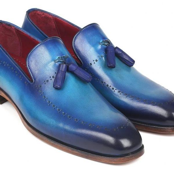 Handmade Leather Shoes For Men, Blue Patina Tassel Loafers Dress Shoes For Men